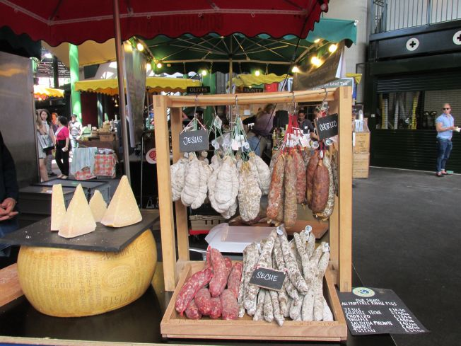 Heavenly sausages at Borrough Market.  The pale ones hanging on the left are called Jesus.