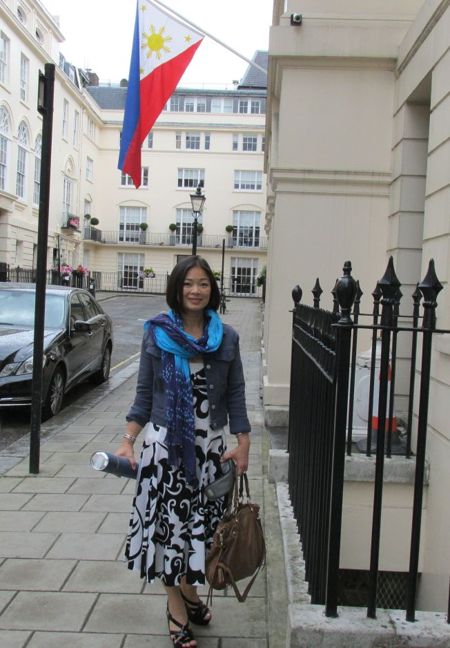 The Philippine Embassy  is just off Trafalgar Square