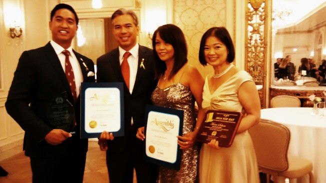 Jason Paguio,  CA State Assemblyman  Rob Bonta, Perla Brownlie after awards ceremony